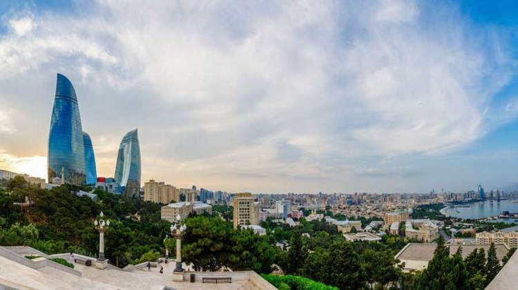 Overview panorama of central city business district in the sunset - Baku