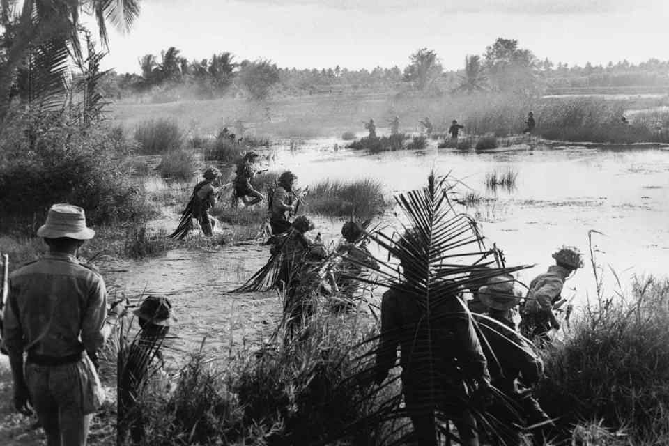 Date unknown Viet Cong meet the enemy face-to-face, most likely in the Mekong Delta or Plain of Reeds. This rare image shows both sides in combat, ARVN soldiers at the top and Viet Cong in the foreground. The VC have flanked the enemy at left and right, which likely meant the ARVN unit was wiped out. IMAGE: HOANG MAI/ANOTHER VIETNAM/NATIONAL GEOGRAPHIC BOOKS