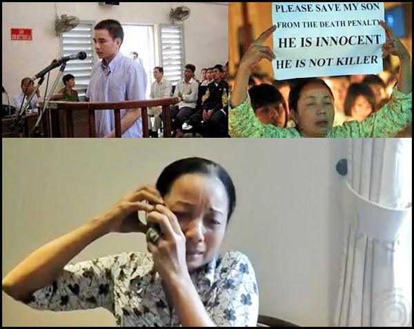 Hồ Duy Hải trước tòa (trên) và bà Nguyễn Thị Loan mẹ của tử tù Hồ Duy Hải (hình phía dưới). File photo