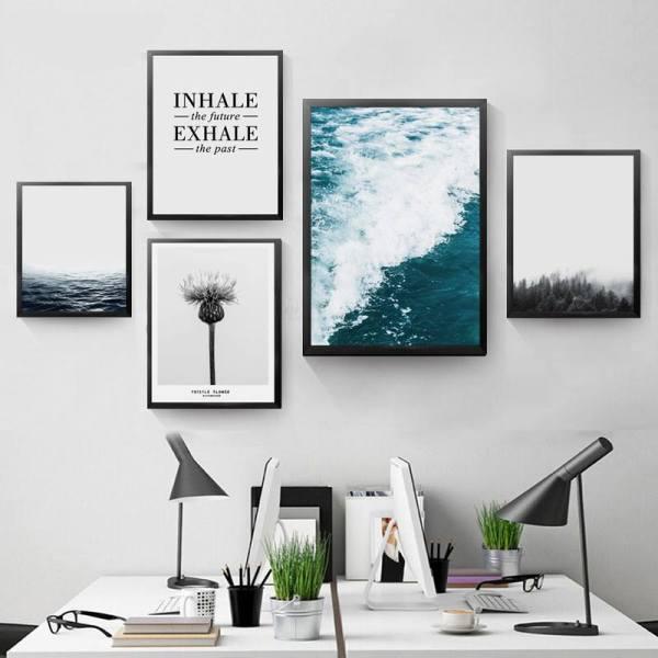 Tranh cảnh biển, hoa bồ công anh và chữ treo phòng làm việc