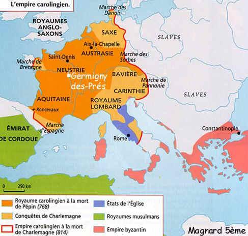 HISTOIRE ABRÉGÉE DE L'ÉGLISE - PAR M. LHOMOND – France - année 1818 (avec images et cartes) Charlemagne-carte