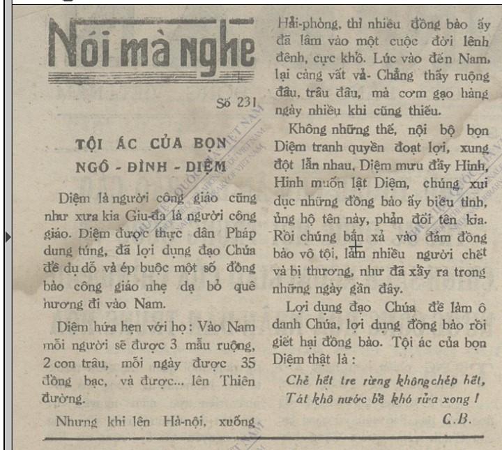 Một bài báo viết về việc di cư vào Nam của đồng bào Công giáo năm 1954. Tác giả là C.B (tức Hồ Chí Minh) đăng trên báo Nhân Dân ngày 29/9 - 1954.