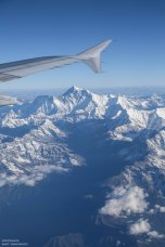 View of Mt Everest from a Paro - Kathmandu flight with Druk Air