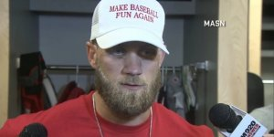 bryce-harper-wore-a-donald-trump-inspired-hat-to-support-the-campaign-for-more-fun-in-baseball