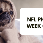 A pug in a blankey saying NFL Picks Week One
