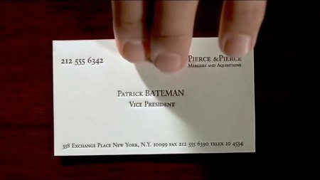 ss card scene in American Psycho (2000)