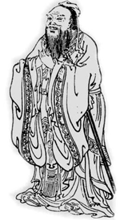 Portrait of Confucius by artist Wu Daozi of Tang Dynasty (618 - 907)