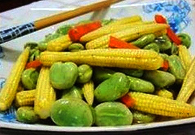 Broad Bean Stir Fry with Baby Corn