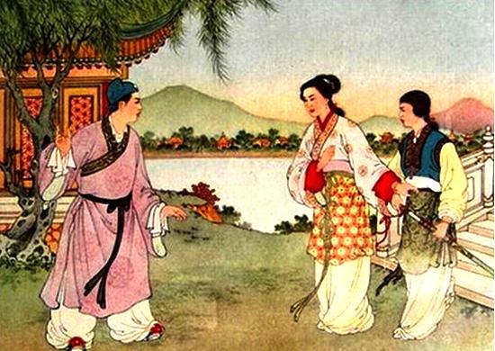 White Snake reuniting with Xu Xian at Broken Bridge