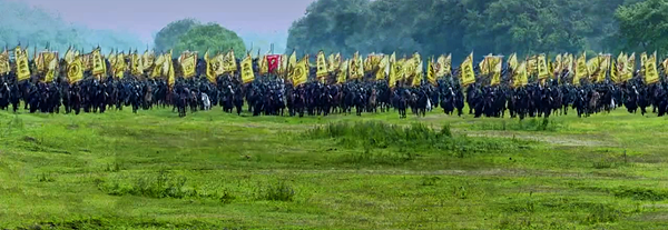 Prince Yu's troops marching towards the emperor's hunting excursion ground