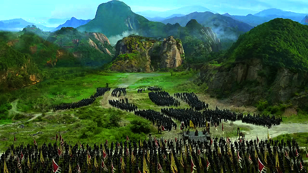 Prince Yu's troops arriving at the foot of Nine Peace Hills