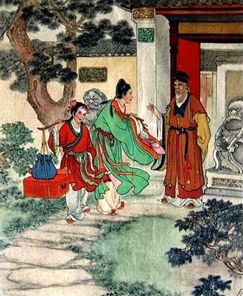 Crossdresser Zhu Yingtai and her maid go to school