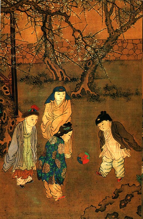 An ancient Chinese family cup - mother and her kids playing soccer