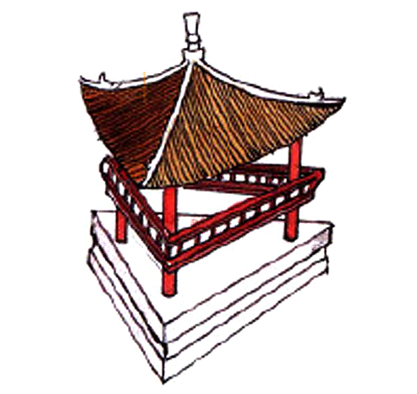 A traditional Chinese roof with 3 facades