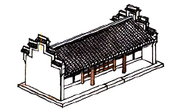 Traditional Chinese residential roof with high firewalls