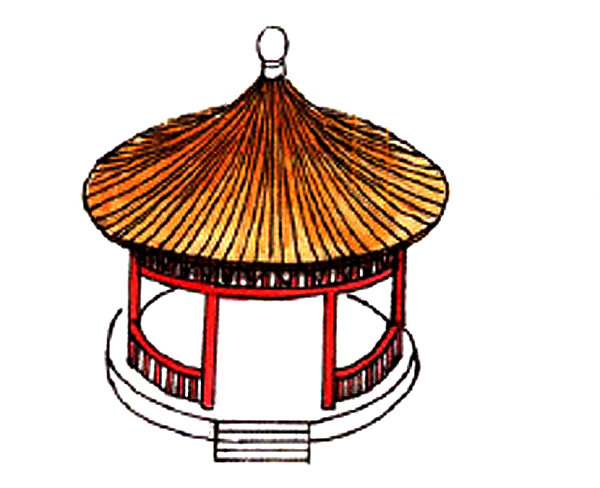 A traditional Chinese round roof, the most common roof type for garden pavilions