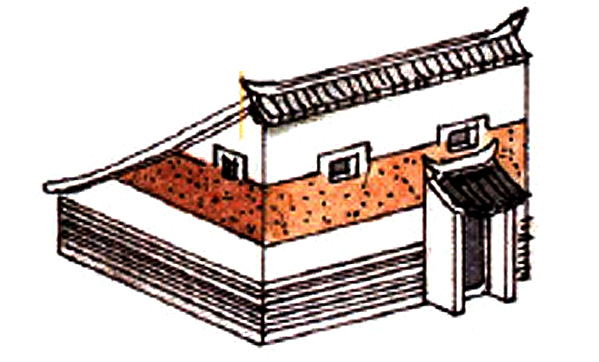 Traditional Chinese single pitch roof