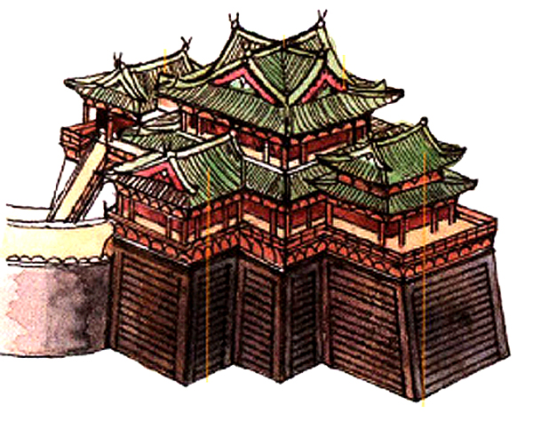 The roof on the ancient Yellow Crane Terrace Building