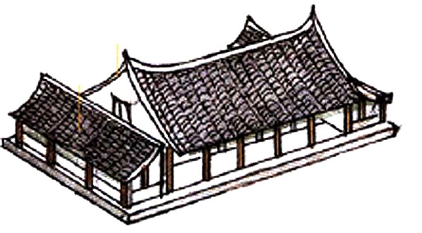 Traditional Chinese multi-facade hip roofs for residential building