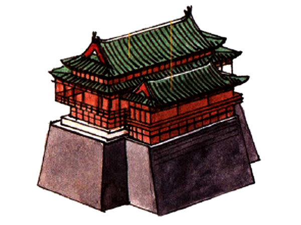 A traditional Chinese roof illustrated in a Song Dynasty painting
