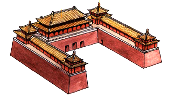 The roofs on Beijing Forbidden City's Meridian Gate hall, verandas sand watchtowers