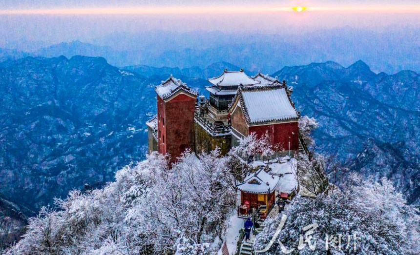 A Taoist temple in Mt. Wudang after snow