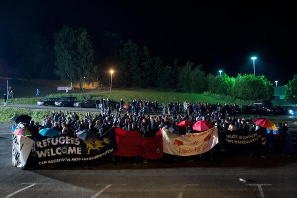 Counter demonstration at Heidenau, Germany