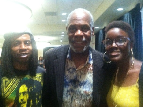 Starstruck: Linked Arms member Ambria Mims poses for a shot with Danny Glover.
