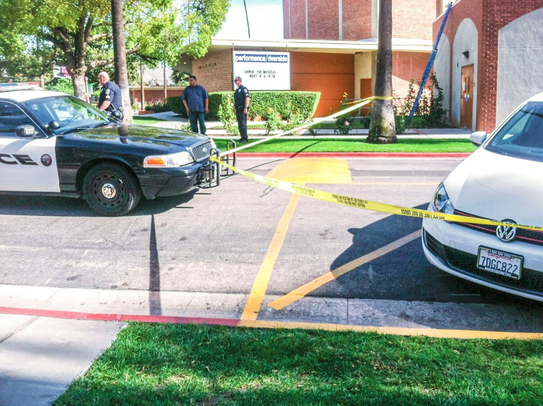 Police parked in front of the Riverside City College music building. (James H. Williams | Managing Editor)