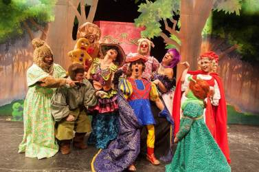"Sing Along: Cast of ""Shrek"" the musical break into song as the fairtytale creatures figure out the identitiy of Lord Farquaad's father.  (Image Courtesy of Jodi Julian)"