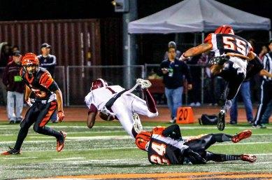 DOUBLE TROUBLE: Mt. SAC WR Derrick Macon scored two touchdowns against the Riverside City College defense. (Luis Solis   Photo Editor)