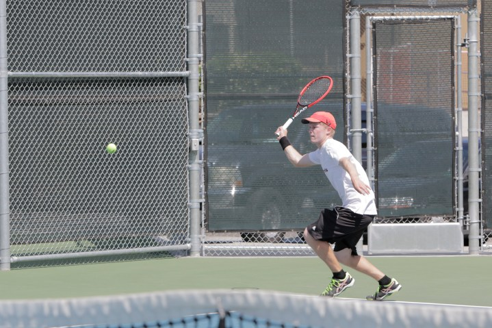 Riverside City College sophomore Conner Stephenson during his doubles match at the 2015 OEC Tournament on April 9