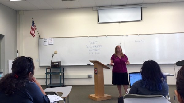 Maribel Nunez, RCC History instructor informs students on the importance of voting at a workshop sponsored by the Riverside Student Coalition Sept. 29 in Quad 218.
