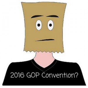 "Cartoon image of man with paper bag with eye holes covering head and face with caption, ""2016 GOP Convention?"""