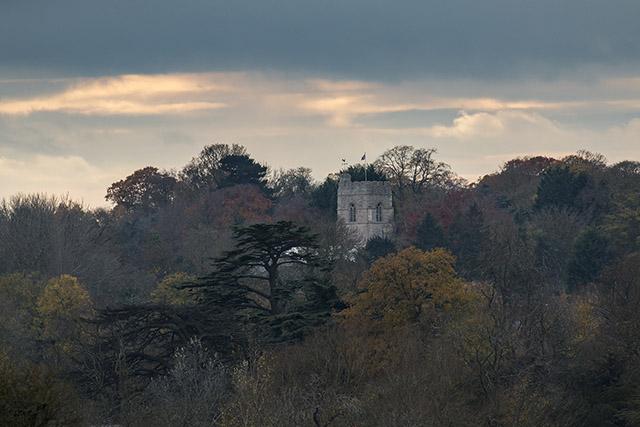 Special Moments - Cosgrove church through autumn trees