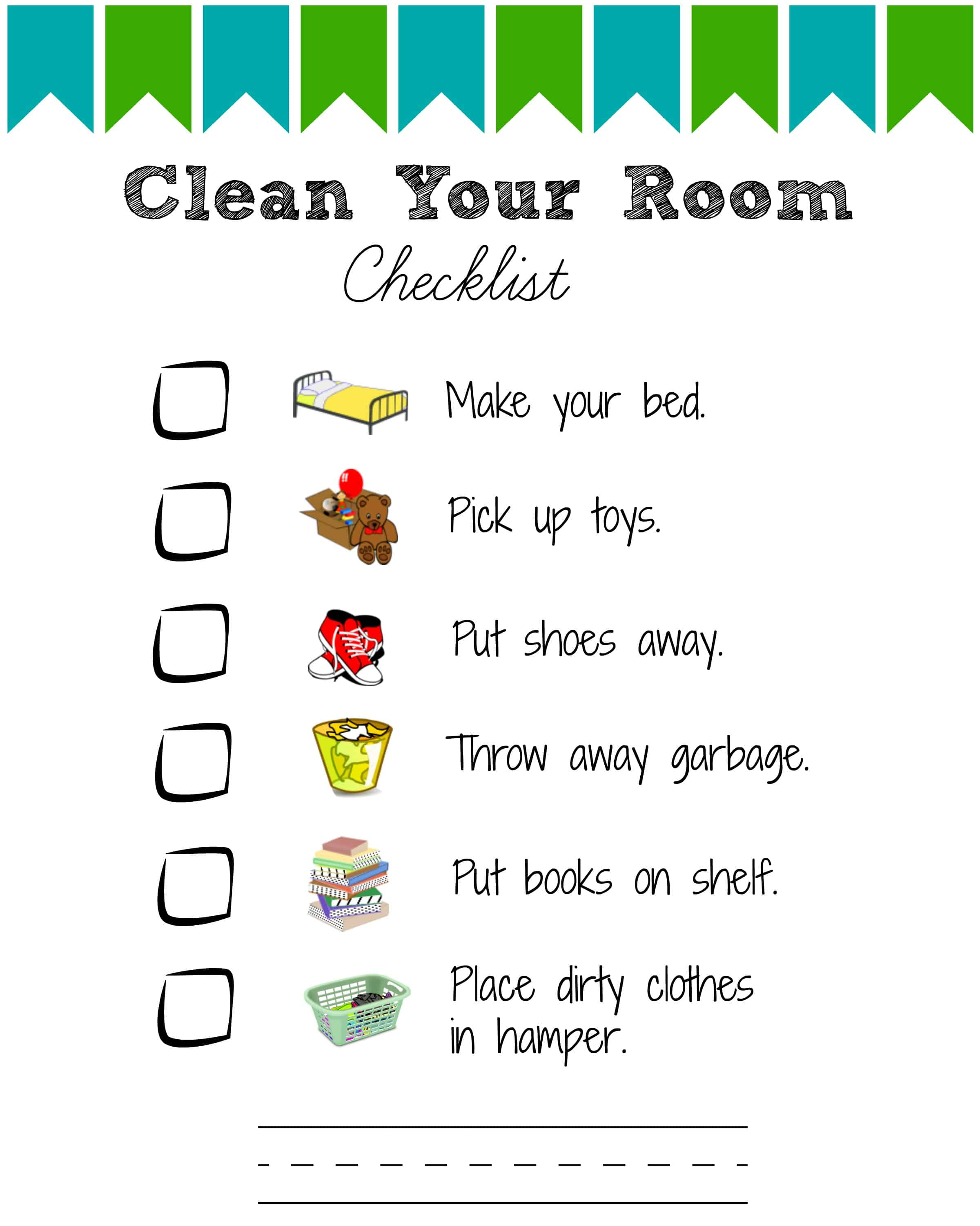 Printable Room Cleaning Checklists For Kids