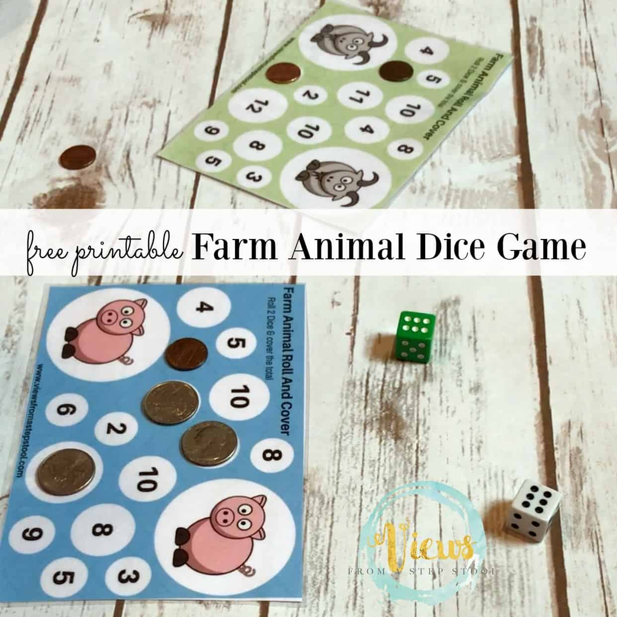 Farm Animal Printable Dice Games A Roll Count And Cover