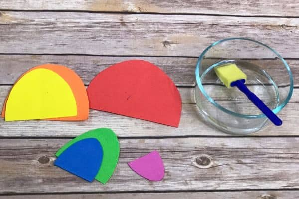 These rainbow busy bags are all made from craft foam bought in bulk at the Dollar Tree! Great for keeping kids entertained and practicing fine motor skills!