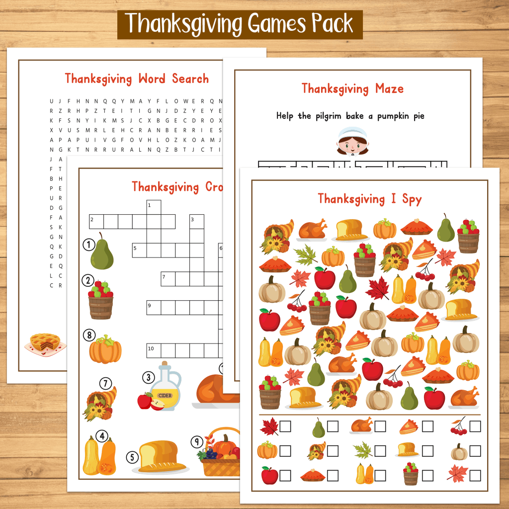 Thanksgiving Printable Games I Spy Maze Crossword