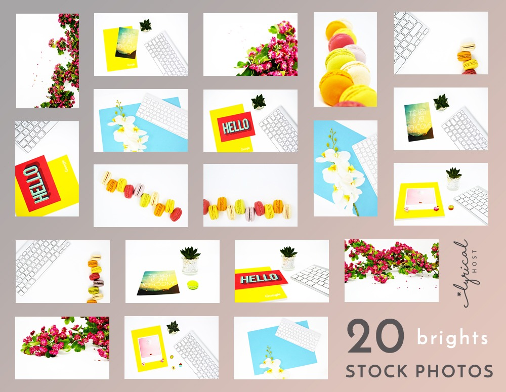 collage of 20 bright colour stock photos - aqua, yellow, red, flowers with keyboards, plant pots on a white background
