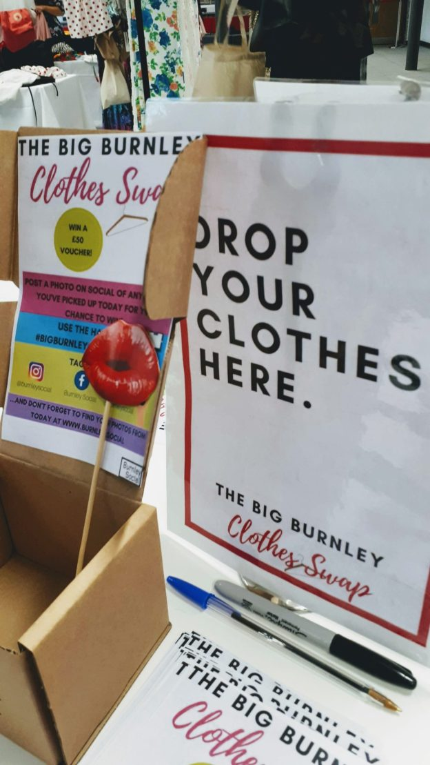 big burnley clothes swap sign