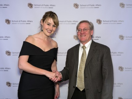 Outstanding BACJ student Katyie Wells and Paul Teske