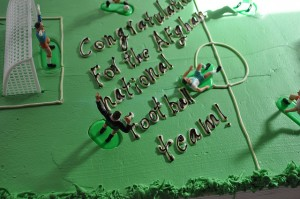 A cake especially prepared to celebrate Afghanistan's national team's victory in the South Asian Football Federation Asian Championship by European Union Police Mission in Afghanistan on September 14. (Photo by EUPOL Afghanistan Media, Creative Commons License)