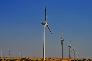 Located close to Jhimpir town of Thatta district, about 60 miles northeast of Karachi, Zorlu Enerji Power Project is the first privately owned and financed wind power project in Pakistan. (Photo by Muzaffar Bukhari, Creative Commons License)