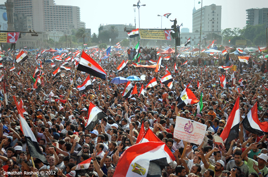 On June 24, 2012, tens of thousands of Muslim Brotherhood supporters gathered in Cairo's Tahrir Square to celebrate the victory of  Mohamed Morsi. Egypt under Morsi had an unstable relationship with Saudi Arabia.  (Photo by by Jonathan Rashad, Creative Commons License)