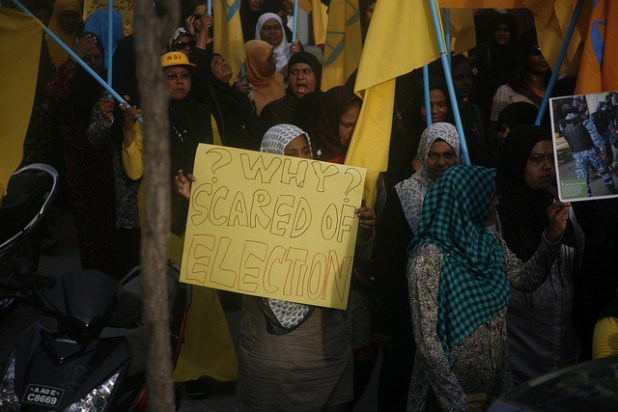 Supporters of Maldivian Democratic Party have long struggled for fair elections. This photo of a protest was taken on April 20, 2012. (Photo by Dying Regime, Creative Commons License)