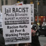 Protesters outside the Fox News / Newscorp Building in Manhattan. (Photo by Chris Goldberg, Creative Commons License)