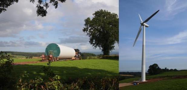 The St Briavels wind turbine in construction (left) and completed (right). (Photo by Abundance via IIED)