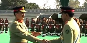 General Ashfaq Pervez Kayani hands over the command of Pakistan Army to General Raheel Sharif at a ceremoney in Rawalpindi, Pakistan on November 29. (Photo from video)
