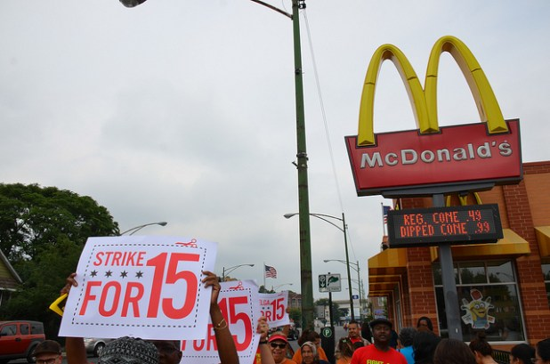 McDonald's workers on strike, demanding pay raise. (Photo by Steve Rhodes, Creative Commons License)